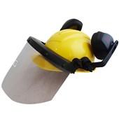 Capacete Amarelo Acoplado Com Protetor Facial E Abafador Ledan