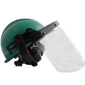 Capacete Verde Acoplado Com Protetor Facial E Abafador Ledan