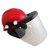 Capacete Vermelho Acoplado Com Protetor Facial E Abafador Ledan