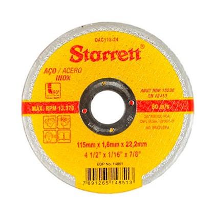 """Disco de Corte 4.1/2"""" Para Aço Inox DAC115-24 Starrett"""
