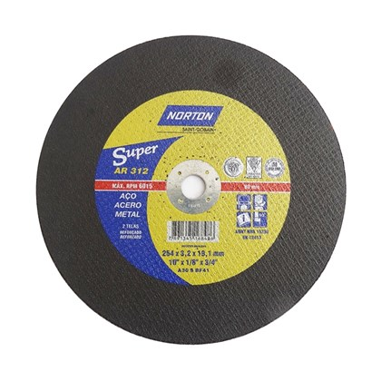 "Disco de Corte AR312 Super 10 x 1/8 x 3/4"" Norton"