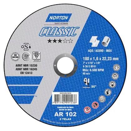 Disco de Corte para Aço Inox 180x1,6x22mm Norton