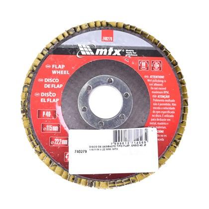 Disco Lixa Flap 115mm x 22mm GR40 MTX