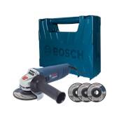 """Esmerilhadeira Angular de 4 1/2"""" 850W com 3 Discos e Maleta GWS 850 Bosch"""