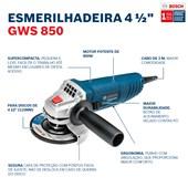 """Esmerilhadeira Angular de 4 1/2"""" GWS 850 850W Bosch"""