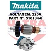 Induzido Rotor Para Serra Circular 5007N Original Ref. 510134-6 220V Makita