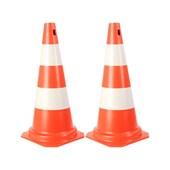 Kit 2 Cones de Sinalização Laranja Branco 75cm Plastcor