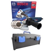 Kit Esmerilhadeira 4 1/2 Com 3 Discos Desbaste 850w 220v GWS 850 Bosch + Maleta