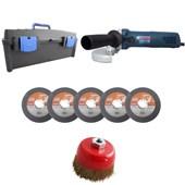"""Kit Esmerilhadeira 5"""" 900W 220v Gws 9-125 Bosch + Maleta + 5 Discos + Brinde"""