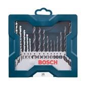 Kit Jogo de Brocas Metal Madeira Alvenaria 3 a 8mm 15 peças X-Line  2607017504 Bosch