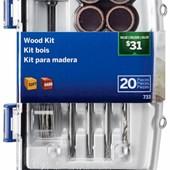 Kit para Esculpir e Gravar em Madeira para Micro Retífica com 20 Peças Dremel
