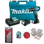 Kit Parafusadeira Furadeira Impacto 3/8 Bivolt 12V HP333DWYE Makita + 2 Baterias+ Maleta + Brindes