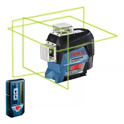 Nível À Laser C/ 3 Linhas Verdes E Receptor Gll 3-80CG Bosch