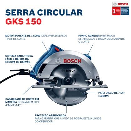 Serra Circular 7.1/4 1500w com Bolsa GKS 150 Bosch